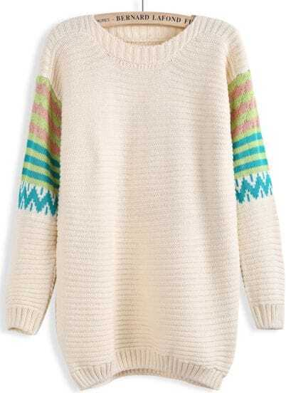 Apricot Contrast Striped Long Sleeve Sweater