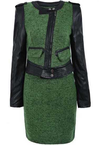 Green Contrast PU Leather Zipper Jacket With Skirt