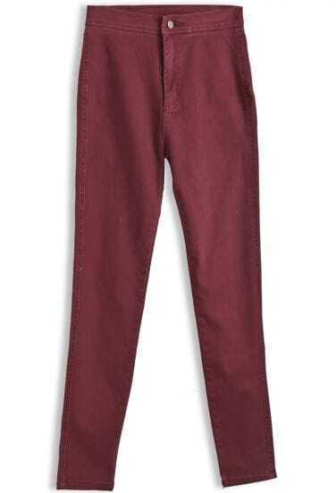 Red High Waist Button Fly Pant