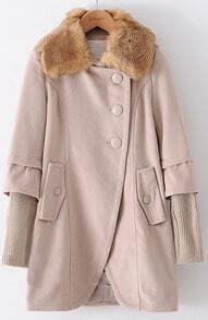 Beige Long Sleeve Contrast Knit Fur Lapel Coat