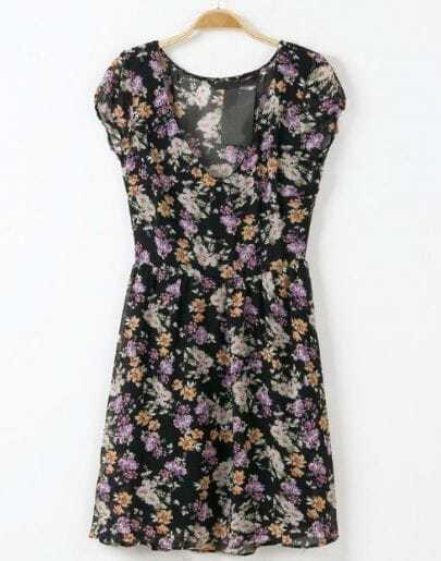 Black V Neck Short Sleeve Floral Chiffon Dress
