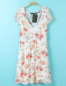 Red V Neck Short Sleeve Floral Chiffon Dress