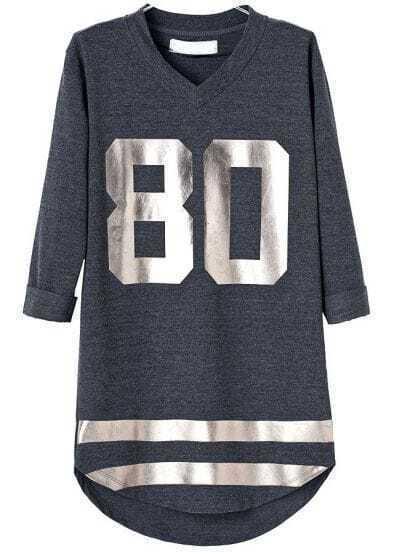 Grey Long Sleeve Striped 80 Print Dress