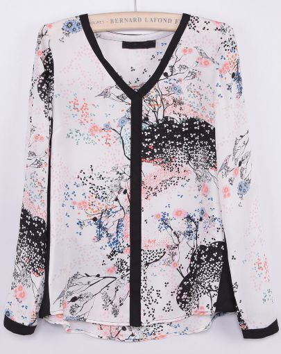 White V Neck Long Sleeve Ink Print Blouse