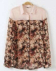 Pink Long Sleeve Abstract Print Chiffon Blouse