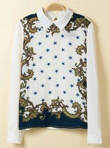 White Long Sleeve Stars Totem Print Blouse