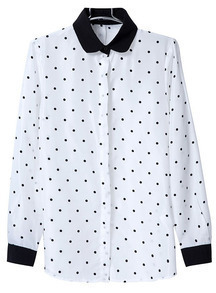 White Lapel Long Sleeve Polka Dot Blouse