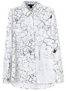 White Lapel Long Sleeve Dry Land Print Blouse