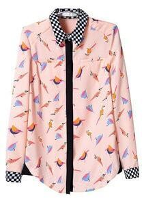 Pink Long Sleeve Birds Print Chiffon Blouse