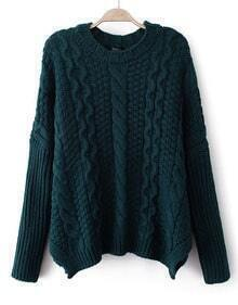 Navy Long Sleeve Chunky Cable Knit Sweater