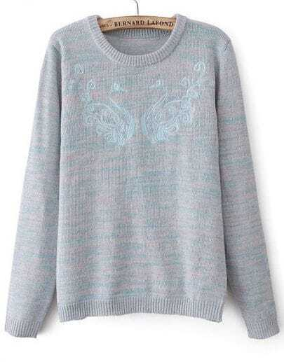 Grey Long Sleeve Embroidered Loose Sweater