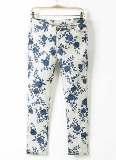 White Slim Porcelain Embroidered Pant