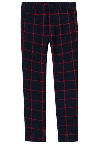 Navy Plaid Zipper Pocket Pant