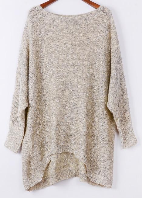 Apricot Long Sleeve Asymmetric Hem Loose Sweater -SheIn(Sheinside)