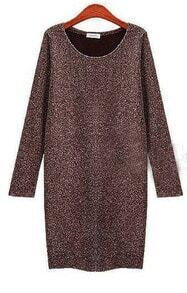 Brown Long Sleeve Round Neck Shift Dress
