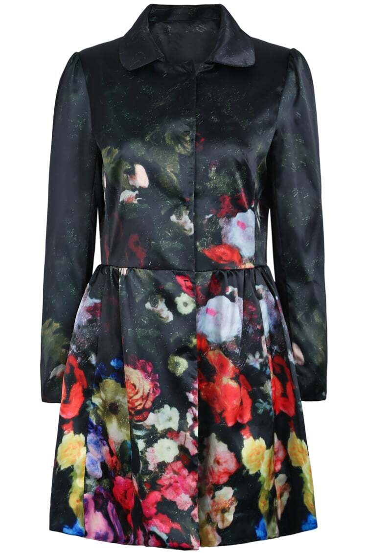 Black Lapel Long Sleeve Floral Trench Coat Shein Sheinside