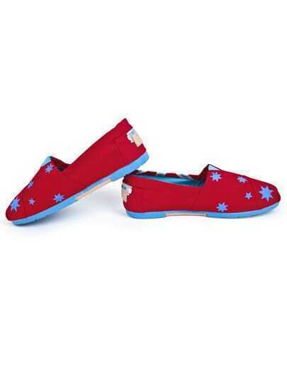 Red Union Jack Stars Print Canvas Flats