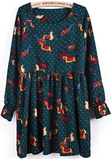 Green Long Sleeve Polka Dot Horses Print Dress