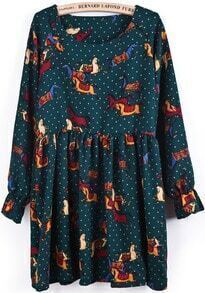 Green Long Sleeve Polka Dot Horses Print Dress