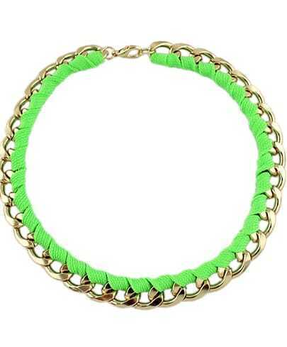Neon Green Rope Gold Chain Wind Necklace