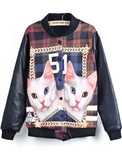 Black Long Sleeve Cat 51 Print Jacket