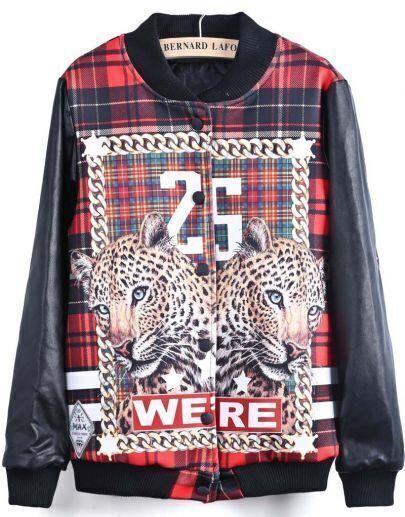 Black Long Sleeve Leopard 25 Print Jacket