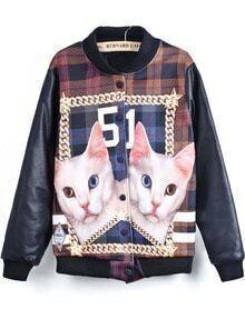 Black Long Sleeve Cat 51 Print Jacket