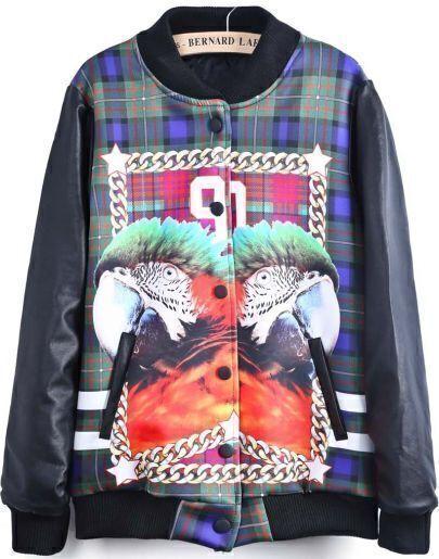 Black Long Sleeve Parrot 90 Print Jacket