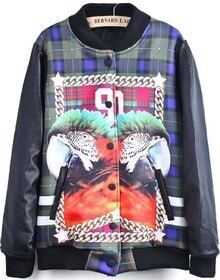 Black Long Sleeve Parrot 90 Print Jacket