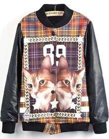 Black Long Sleeve Cat 99 Print Jacket