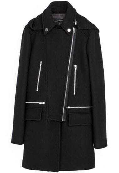 Black Long Sleeve Oblique Zipper Trench Coat