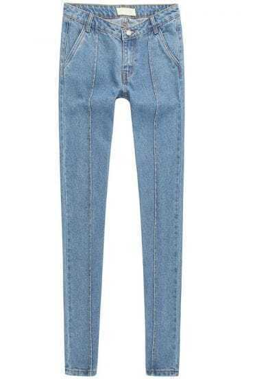 Blue High Waist Pockets Denim Pant