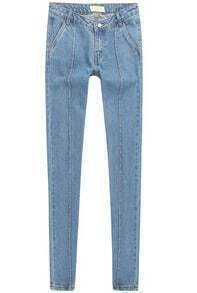 Blue High Waist Pockets Denim Pant
