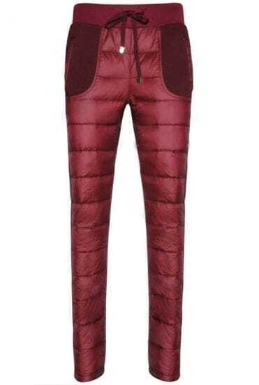 Wine Red Drawstring Waist Down Pant