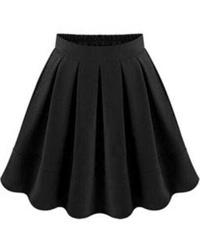 Black Flare Pleated Skirt