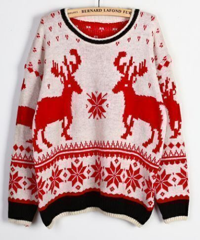 Beige Long Sleeve Deer Snowflake Christmas Sweater