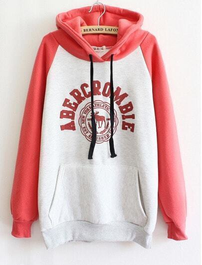 Red Long Sleeve Deer Pocket Hooded Sweatshirt