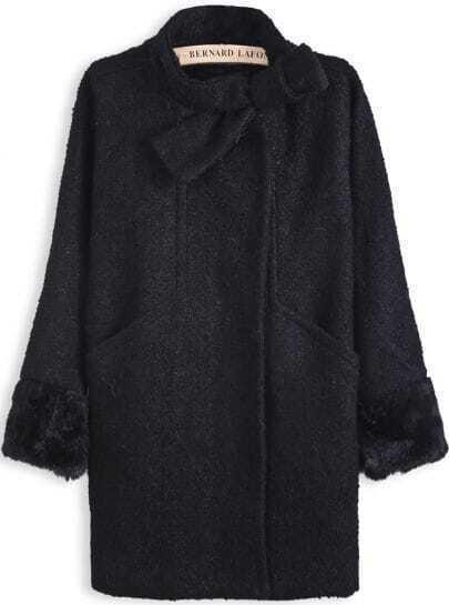 Black Long Sleeve Bow Simple Design Woolen Coat