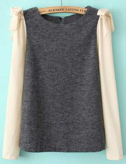 Grey Contrast Long Sleeve Bow Blouse