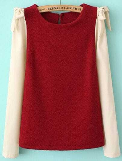 Red Contrast Long Sleeve Bow Blouse