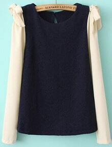 Navy Contrast Long Sleeve Bow Blouse