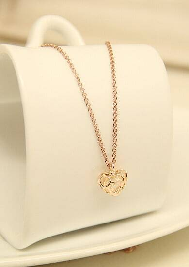 Gold Hollow Heart Chain Necklace