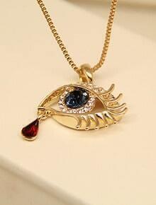 Red Black Gemstone Gold Diamond Eye Necklace