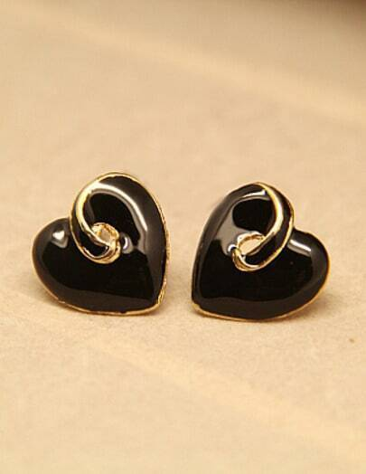 Black Glaze Heart Stud Earrings