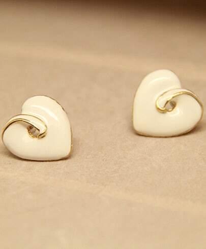 White Glaze Heart Stud Earrings