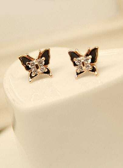 Gold Diamond Butterfly Stud Earrings
