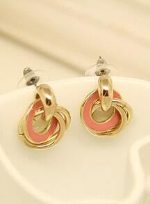 Pink Glaze Gold Circle Earrings