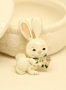 White Glaze Rabbit Brooches