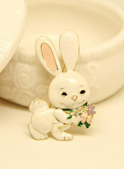 White Glaze Rabbit Brooches