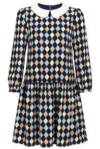 Multi Long Sleeve Diamond Print Pleated Dress